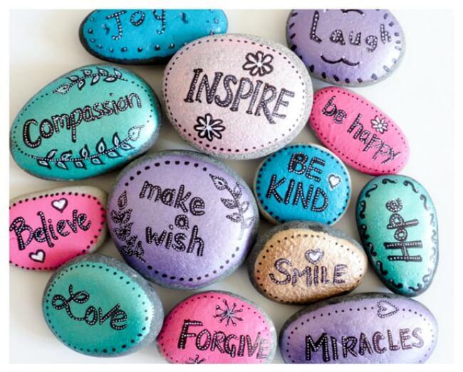 encouragement word rocks